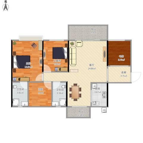 中源明珠4室1厅2卫1厨109.00㎡户型图