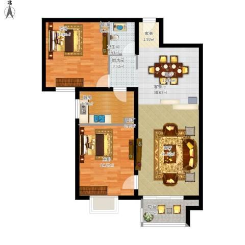 悦澜湾2室1厅1卫1厨114.00㎡户型图