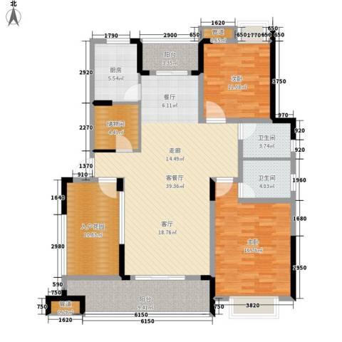 紫园2室1厅2卫1厨131.00㎡户型图