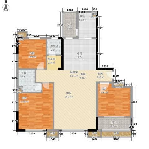 青和君临国际3室0厅2卫1厨134.00㎡户型图
