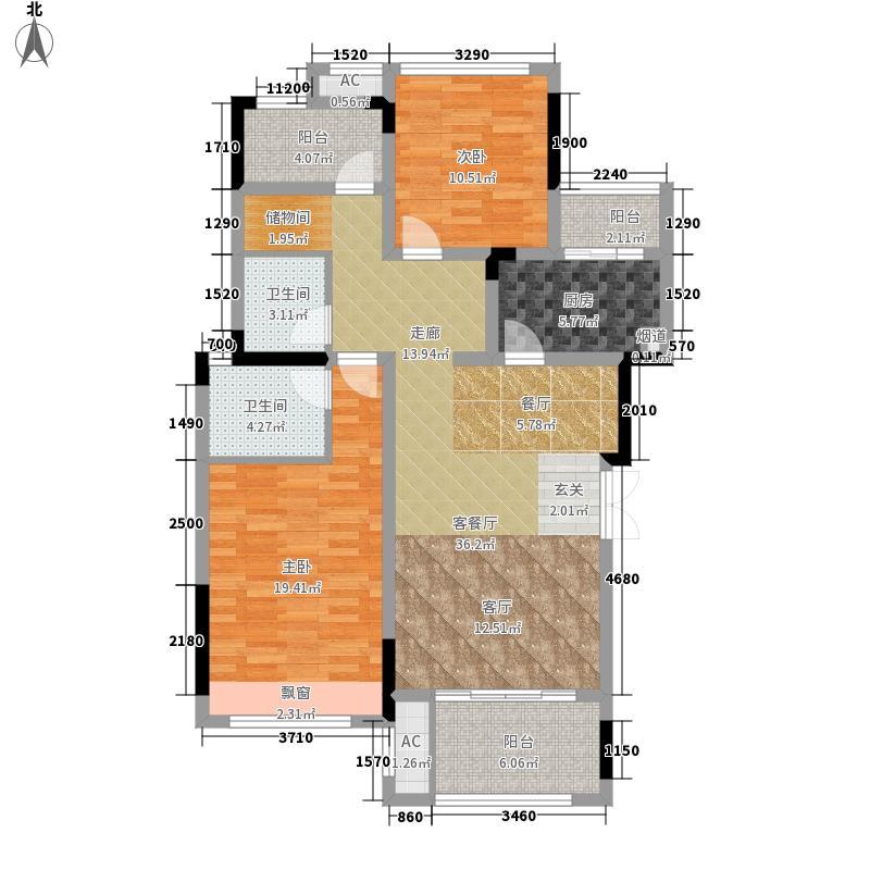 首信皇冠假日104.24㎡一期洋房9/10号楼标准层A2-6-1户型2室2厅