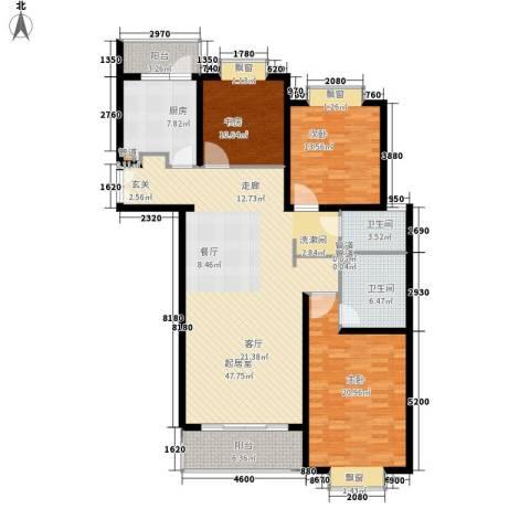 虹口现代公寓3室0厅2卫1厨135.00㎡户型图