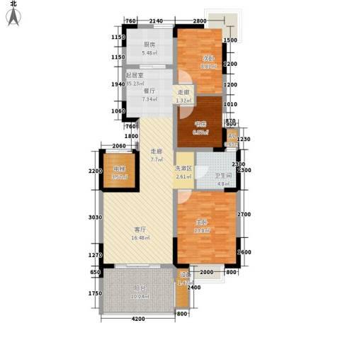 国奥天地3室0厅1卫1厨120.00㎡户型图
