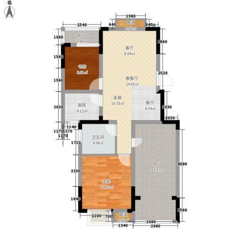 紫园2室1厅1卫1厨87.00㎡户型图