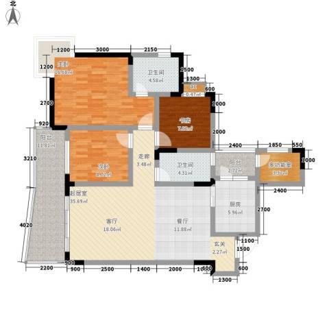 回龙湾小区3室0厅2卫1厨109.00㎡户型图