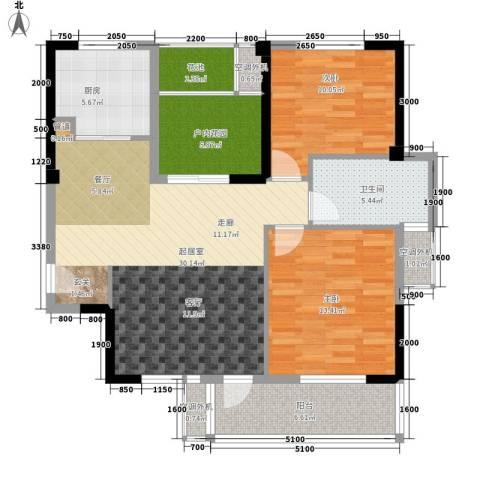 天瑞公馆2室0厅1卫1厨104.00㎡户型图