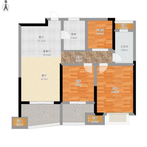 昆山颐景园3室1厅1卫1厨124.00㎡户型图