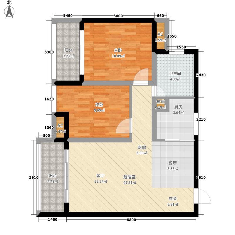 清和源68.00㎡一期1号楼标准层B面积6800m户型