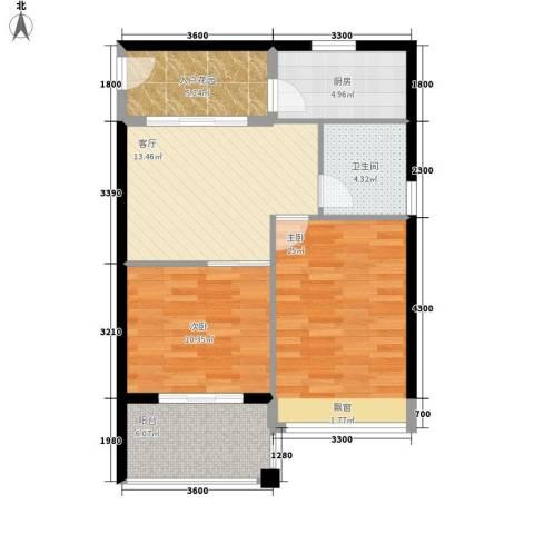 万泉明珠2室1厅1卫1厨77.00㎡户型图
