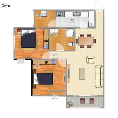 雄飞新园紫郡2室1厅1卫1厨92.00㎡户型图