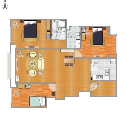 香醍溪岸3室1厅2卫1厨128.00㎡户型图