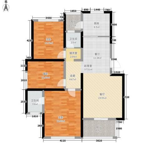 利民君临天下3室0厅2卫1厨117.00㎡户型图