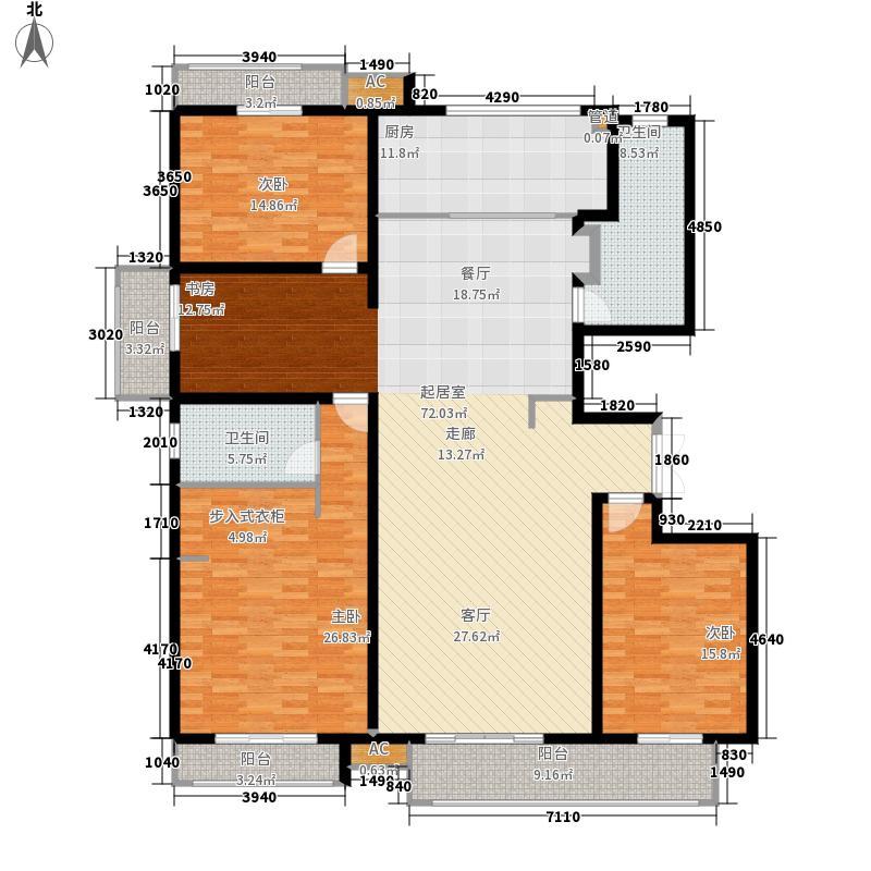 麒麟公馆198.00㎡C1户型 四室两厅两卫户型4室2厅2卫