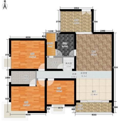 鑫兴佳园3室0厅2卫1厨130.00㎡户型图