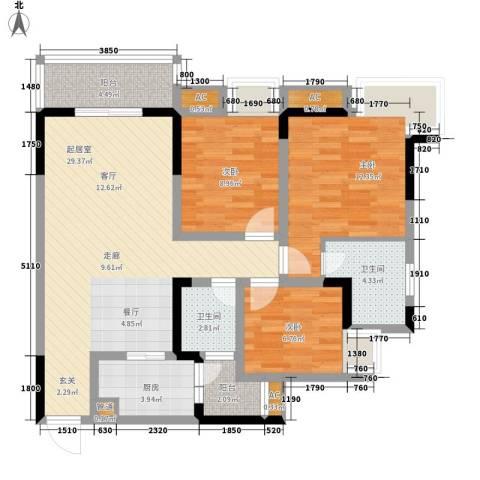 大鼎世纪滨江3室0厅2卫1厨85.00㎡户型图