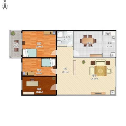 哈佛印象3室1厅1卫1厨136.00㎡户型图