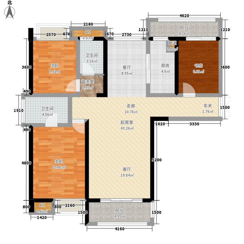 建发金沙里127.00㎡3号楼A1面积12700m户型