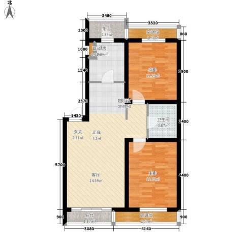 金域蓝山2室0厅1卫1厨89.00㎡户型图