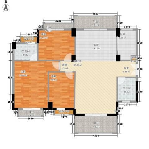 长沙玫瑰园3室0厅2卫1厨140.00㎡户型图