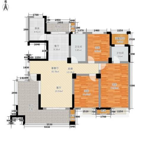 紫园3室1厅2卫1厨143.00㎡户型图