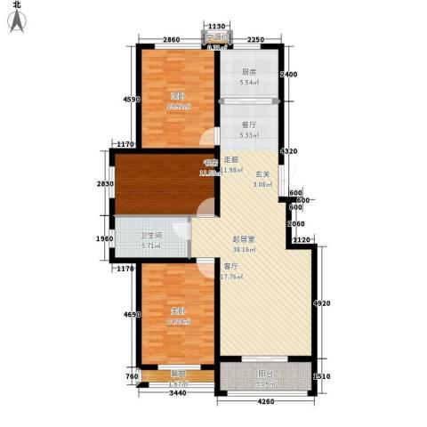 中景华庭3室0厅1卫1厨138.00㎡户型图