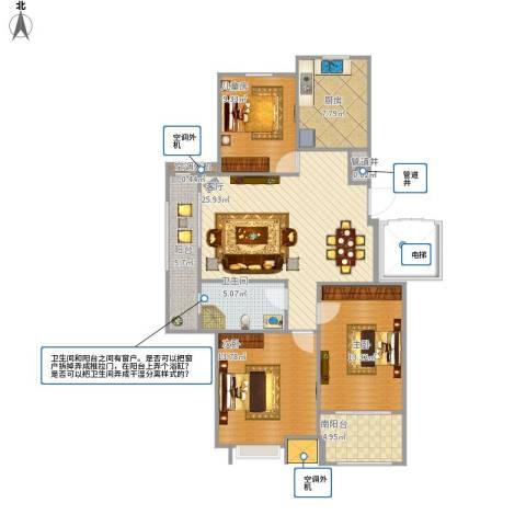 海亮・院里3室1厅1卫1厨94.30㎡户型图