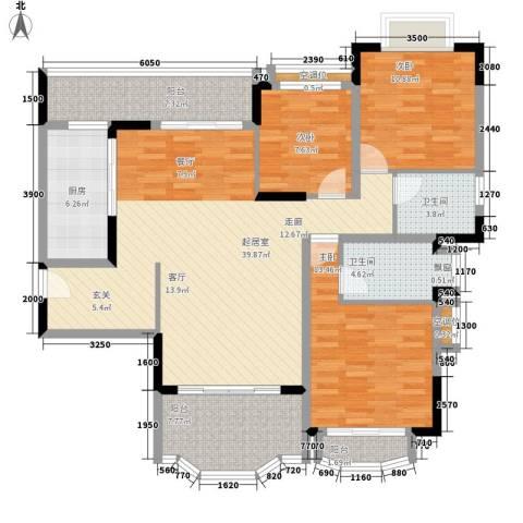 中仪花园3室0厅2卫1厨132.00㎡户型图