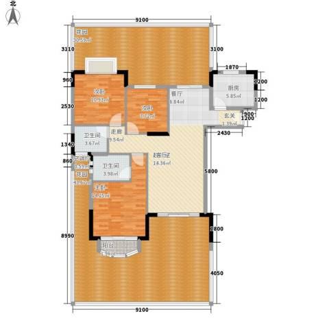 中仪花园3室0厅2卫1厨155.36㎡户型图