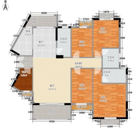 长沙玫瑰园5室0厅3卫1厨162.00㎡户型图