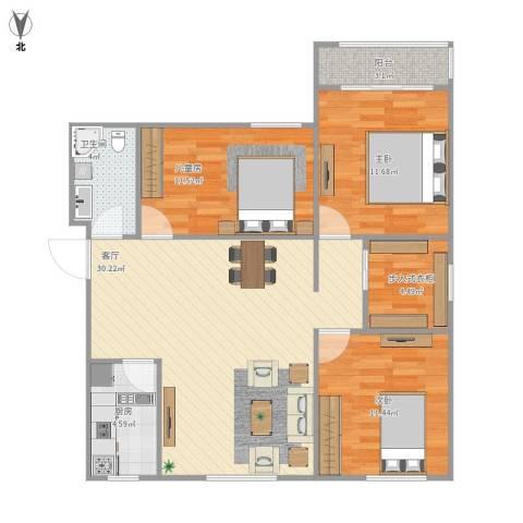 玉门河小区3室1厅1卫1厨109.00㎡户型图