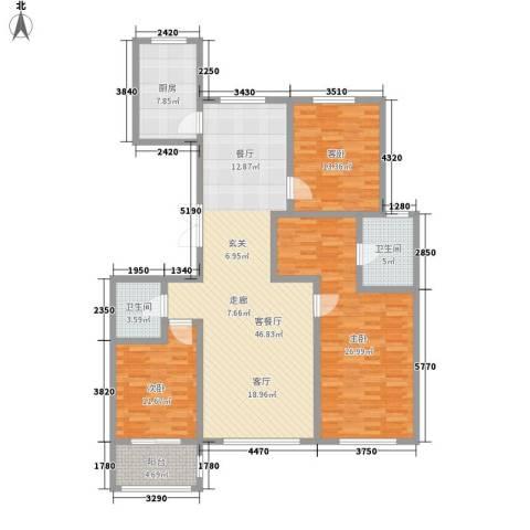 世家官邸3室1厅2卫1厨170.00㎡户型图