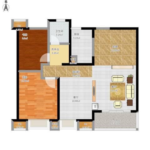 九龙仓时代上城年华里2室1厅1卫1厨119.00㎡户型图