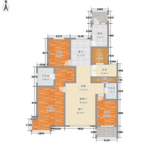 世家官邸3室1厅2卫1厨198.00㎡户型图