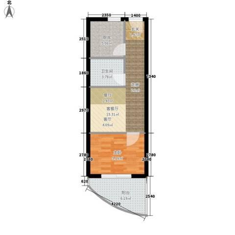 博鳌阳光海岸1室1厅1卫1厨45.00㎡户型图