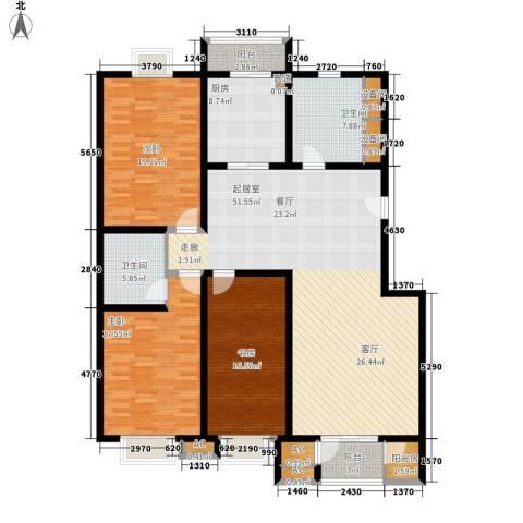 京源柳郡3室0厅2卫1厨156.00㎡户型图