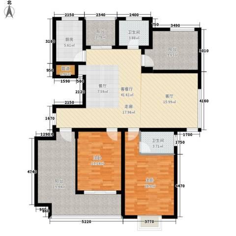 紫园2室1厅2卫1厨141.00㎡户型图