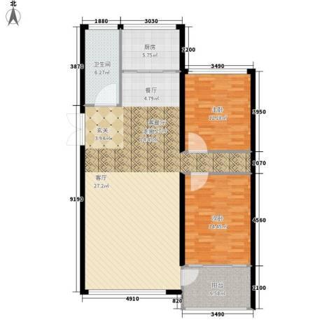 鸿旺阳光小区2室1厅1卫1厨131.00㎡户型图