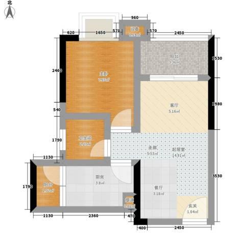 城市印象1室0厅1卫1厨40.00㎡户型图