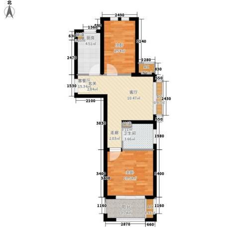 太湖相王府2室1厅1卫1厨58.00㎡户型图