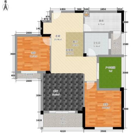 天瑞公馆2室0厅1卫1厨117.00㎡户型图