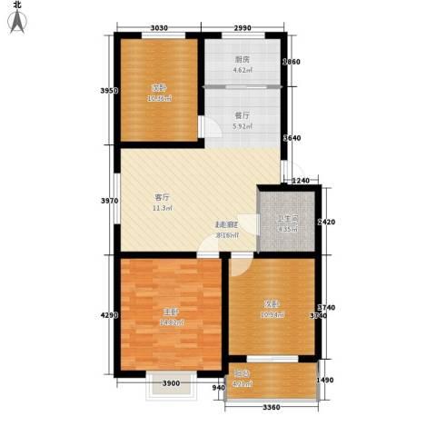 昌黎西苑二期3室0厅1卫1厨93.00㎡户型图