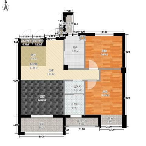天瑞公馆2室0厅1卫1厨86.00㎡户型图