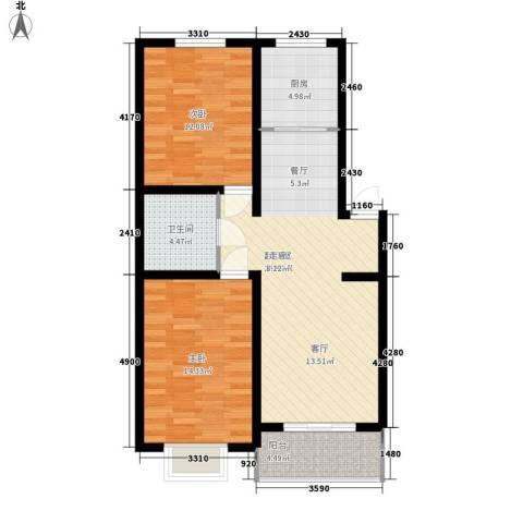 昌黎西苑二期2室0厅1卫1厨86.00㎡户型图