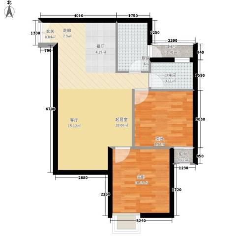 中远两湾城四期2室0厅1卫1厨80.00㎡户型图