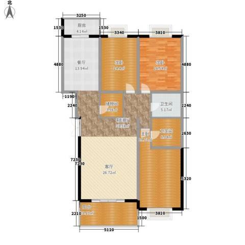 汤泉逸墅3室1厅2卫1厨155.00㎡户型图