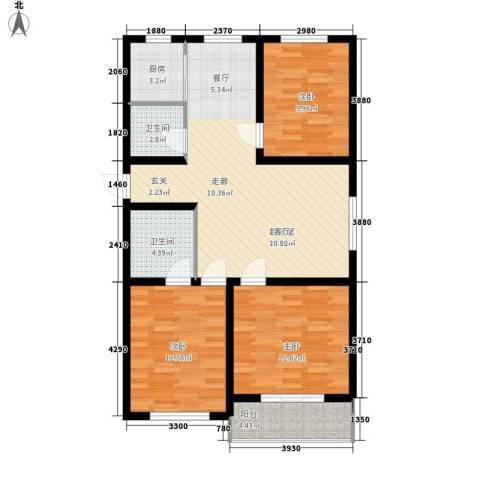 昌黎西苑二期3室0厅2卫1厨100.00㎡户型图