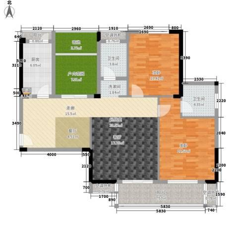 天瑞公馆2室0厅2卫1厨117.00㎡户型图