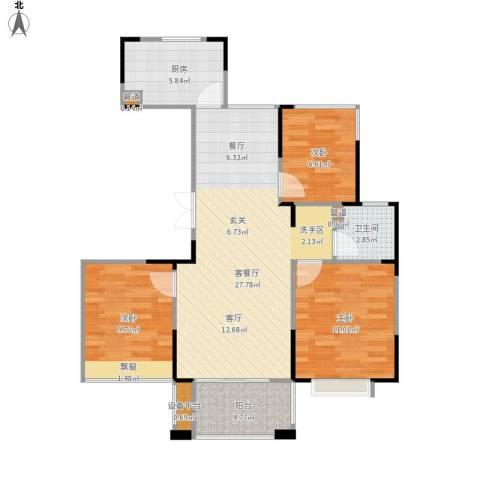 山湖湾3室1厅1卫1厨95.00㎡户型图