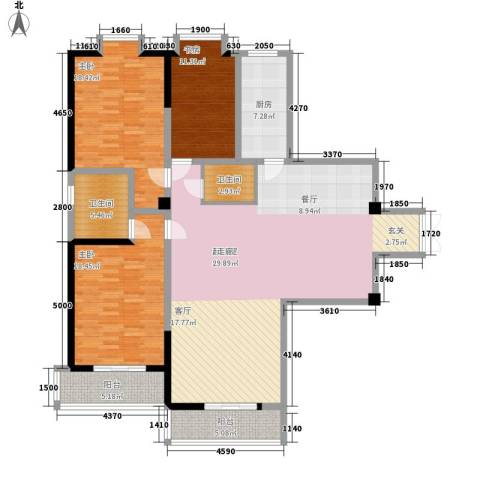 金地园3室0厅2卫1厨174.00㎡户型图