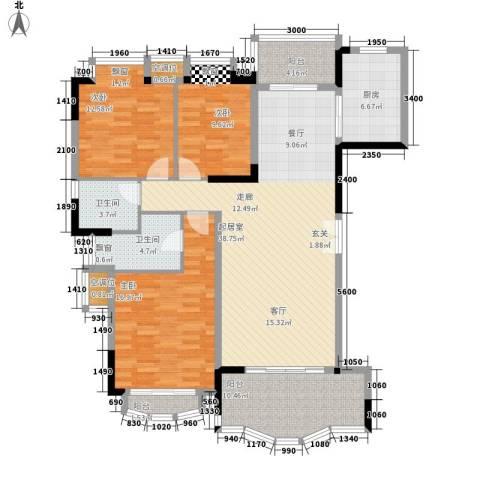 中仪花园3室0厅2卫1厨139.00㎡户型图